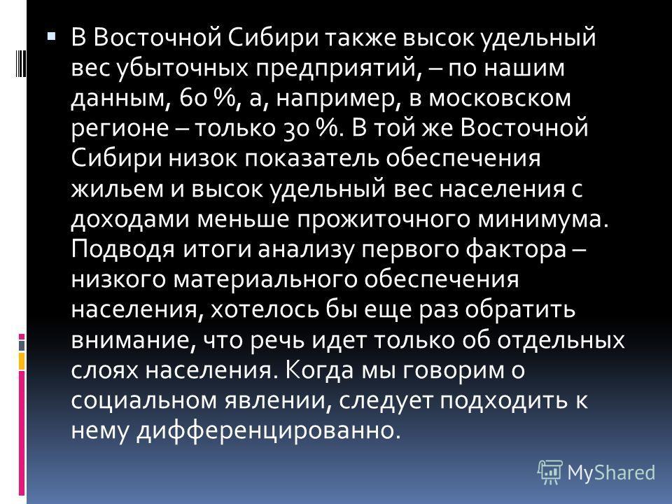 В Восточной Сибири также высок удельный вес убыточных предприятий, – по нашим данным, 60 %, а, например, в московском регионе – только 30 %. В той же Восточной Сибири низок показатель обеспечения жильем и высок удельный вес населения с доходами меньш