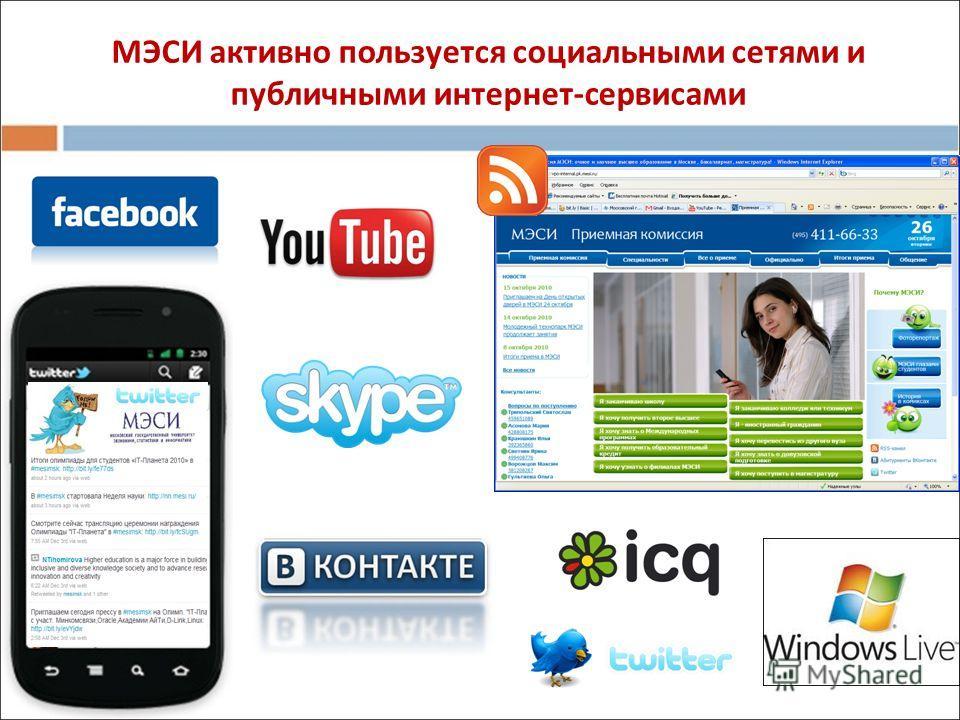 МЭСИ активно пользуется социальными сетями и публичными интернет-сервисами