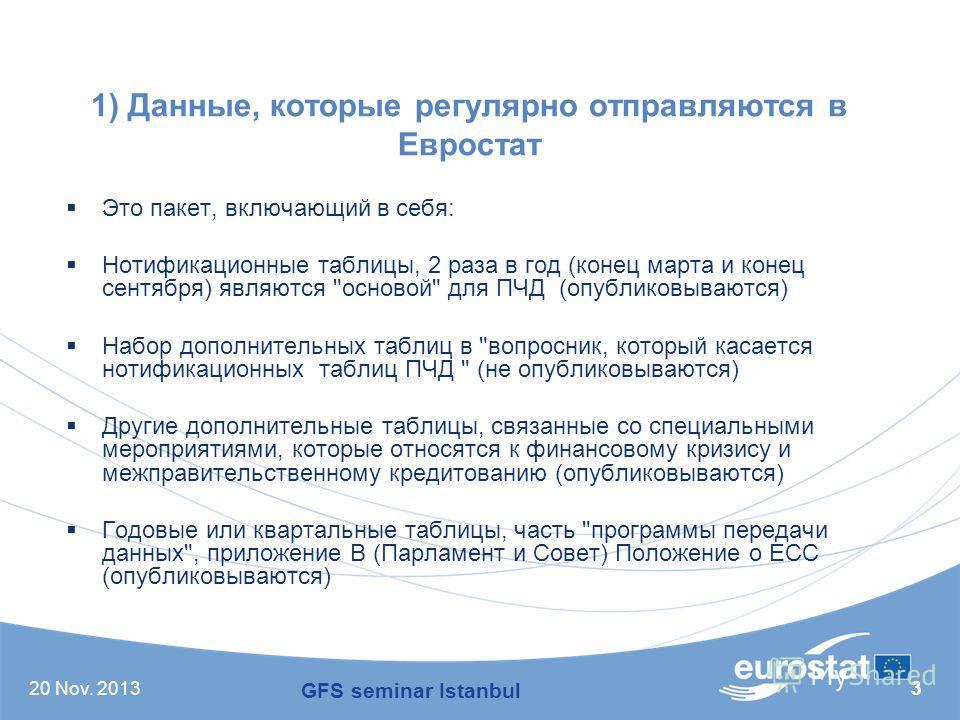 20 Nov. 201333 1) Данные, которые регулярно отправляются в Евростат Это пакет, включающий в себя: Нотификационные таблицы, 2 раза в год (конец марта и конец сентября) являются
