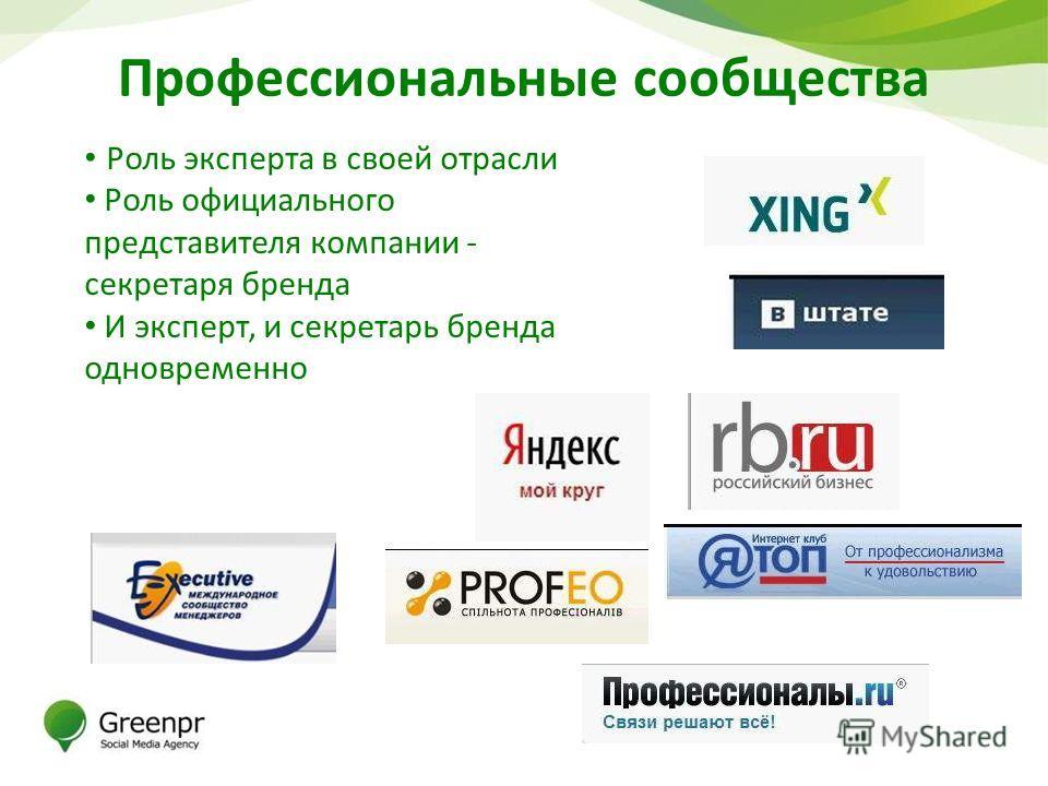 Профессиональные сообщества Роль эксперта в своей отрасли Роль официального представителя компании - секретаря бренда И эксперт, и секретарь бренда одновременно