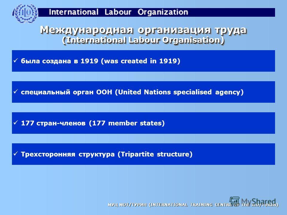 МУЦ МОТ/ТУРИН (INTERNATIONAL TRAINING CENTRE OF THE ILO/TURIN) СИСТЕМА МЕЖДУНАРОДНЫХ НОРМ ТРУДОВЫХ ОТНОШЕНИЙ (THE INTERNATIONAL LABOUR STANDARDS SYSTEM)