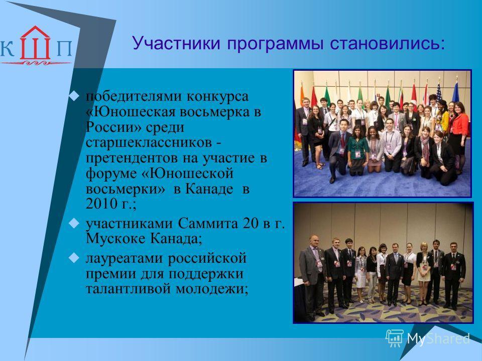 Участники программы становились: победителями конкурса «Юношеская восьмерка в России» среди старшеклассников - претендентов на участие в форуме «Юношеской восьмерки» в Канаде в 2010 г.; участниками Саммита 20 в г. Мускоке Канада; лауреатами российско