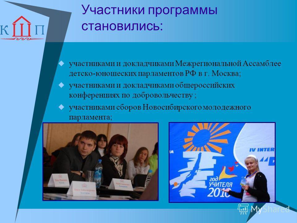 Участники программы становились: участниками и докладчиками Межрегиональной Ассамблее детско-юношеских парламентов РФ в г. Москва; участниками и докладчиками общероссийских конференциях по добровольчеству ; участниками сборов Новосибирского молодежно