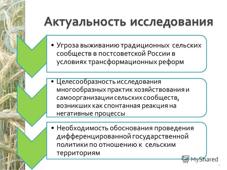 Актуальность исследования Угроза выживанию традиционных сельских сообществ в постсоветской России в условиях трансформационных реформ Целесообразность исследования многообразных практик хозяйствования и самоорганизации сельских сообществ, возникших к