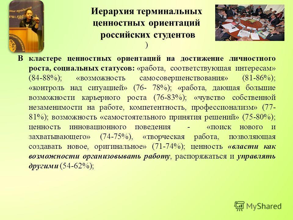 Иерархия терминальных ценностных ориентаций российских студентов ) В кластере ценностных ориентаций на достижение личностного роста, социальных статусов: «работа, соответствующая интересам» (84-88%); «возможность самосовершенствования» (81-86%); «кон
