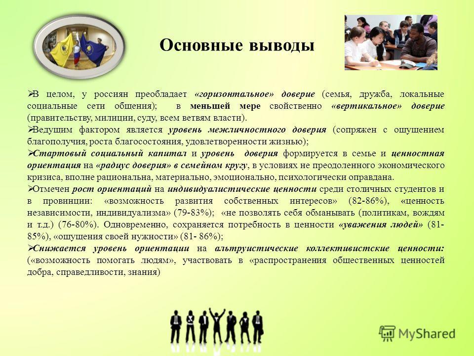 Основные выводы В целом, у россиян преобладает «горизонтальное» доверие (семья, дружба, локальные социальные сети общения); в меньшей мере свойственно «вертикальное» доверие (правительству, милиции, суду, всем ветвям власти). Ведущим фактором являетс