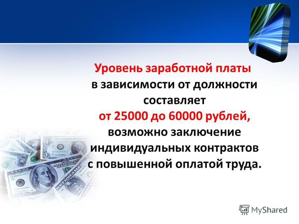 Уровень заработной платы в зависимости от должности составляет от 25000 до 60000 рублей, возможно заключение индивидуальных контрактов с повышенной оплатой труда.