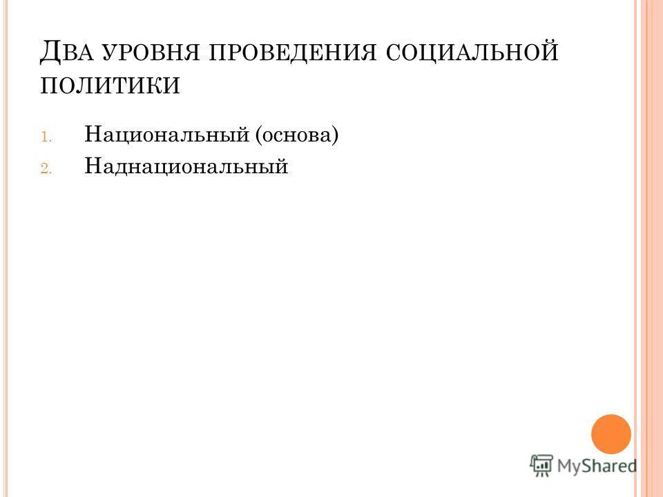 Д ВА УРОВНЯ ПРОВЕДЕНИЯ СОЦИАЛЬНОЙ ПОЛИТИКИ 1. Национальный (основа) 2. Наднациональный