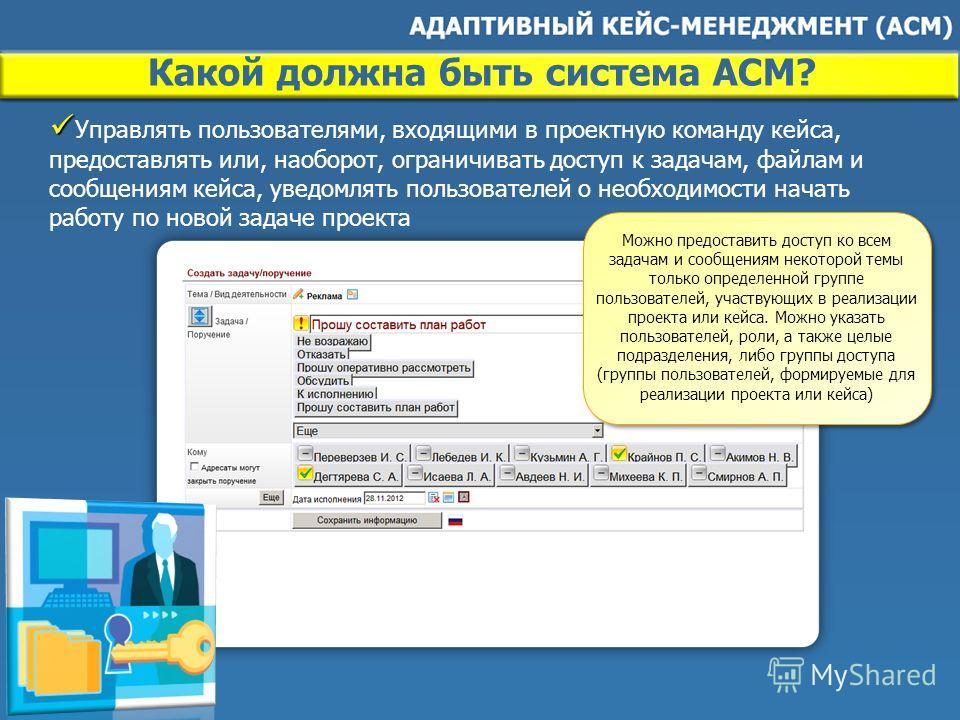 Какой должна быть система ACM? Управлять пользователями, входящими в проектную команду кейса, предоставлять или, наоборот, ограничивать доступ к задачам, файлам и сообщениям кейса, уведомлять пользователей о необходимости начать работу по новой задач