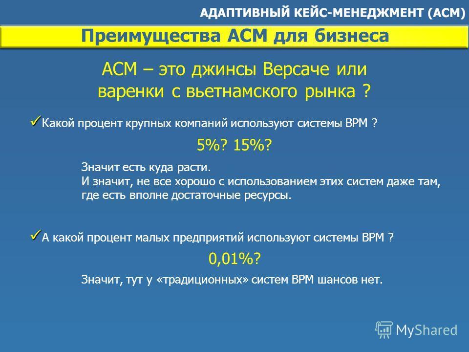 Преимущества ACM для бизнеса Какой процент крупных компаний используют системы BPM ? ACM – это джинсы Версаче или варенки с вьетнамского рынка ? А какой процент малых предприятий используют системы BPM ? Значит есть куда расти. И значит, не все хорош