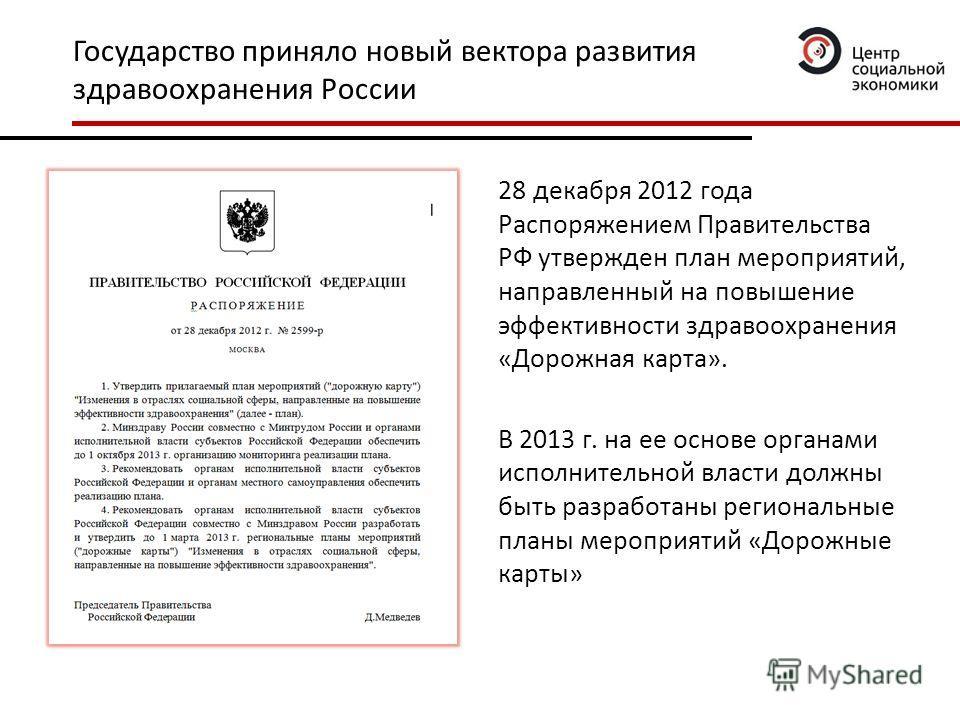 Государство приняло новый вектора развития здравоохранения России 28 декабря 2012 года Распоряжением Правительства РФ утвержден план мероприятий, направленный на повышение эффективности здравоохранения «Дорожная карта». В 2013 г. на ее основе органам