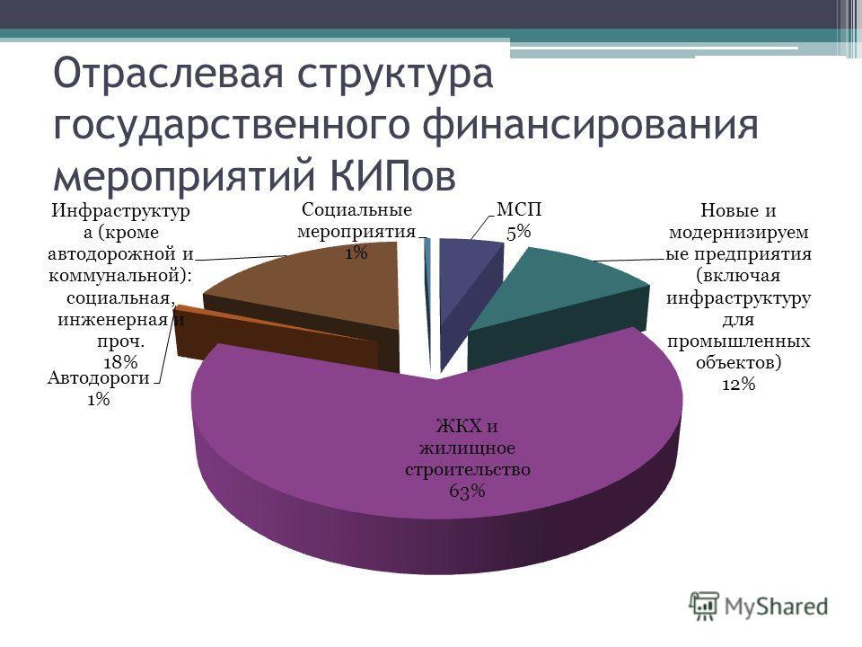Отраслевая структура государственного финансирования мероприятий КИПов