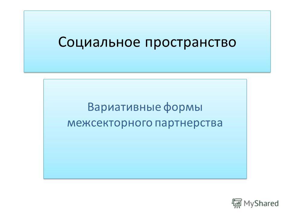 Социальное пространство Вариативные формы межсекторного партнерства