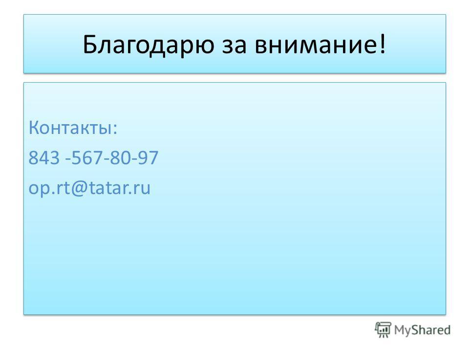 Благодарю за внимание! Контакты: 843 -567-80-97 op.rt@tatar.ru Контакты: 843 -567-80-97 op.rt@tatar.ru