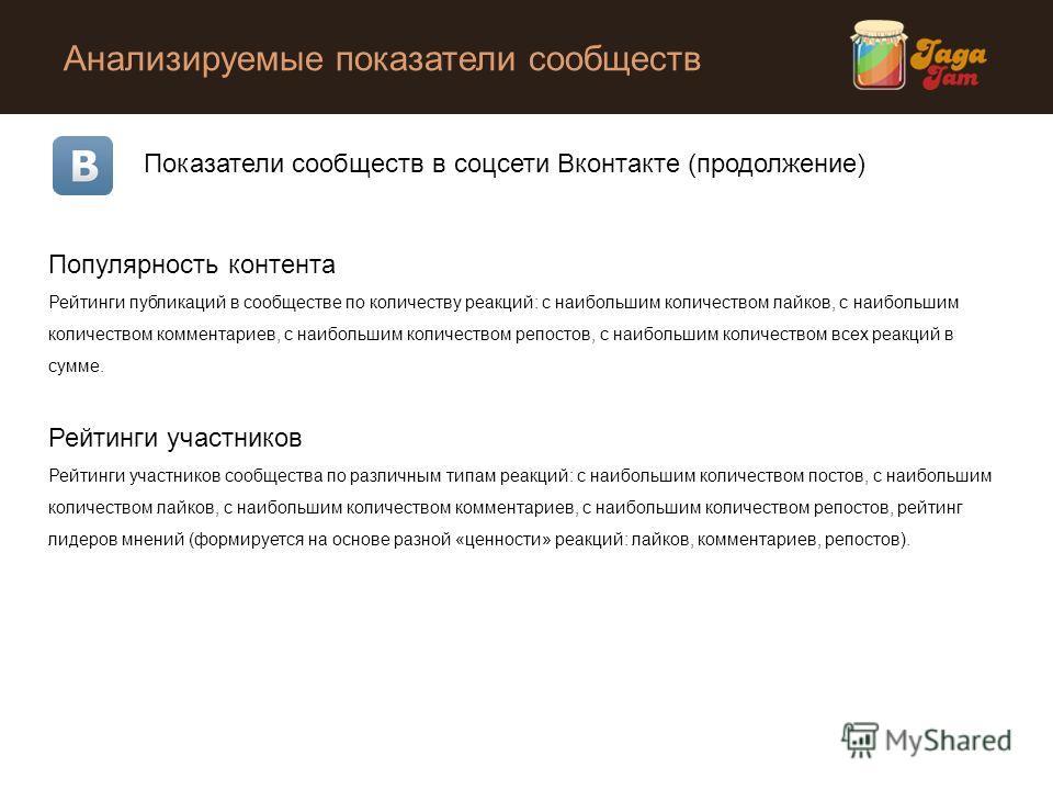 Анализируемые показатели сообществ Показатели сообществ в соцсети Вконтакте (продолжение) Популярность контента Рейтинги публикаций в сообществе по количеству реакций: с наибольшим количеством лайков, с наибольшим количеством комментариев, с наибольш