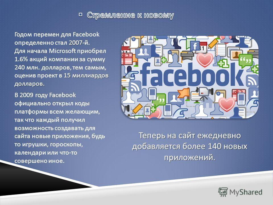 2007 Годом перемен для Facebook определенно стал 2007- й. 15 миллиардов долларов. Для начала Microsoft приобрел 1.6% акций компании за сумму 240 млн. долларов, тем самым, оценив проект в 15 миллиардов долларов. В 2009 году Facebook официально открыл