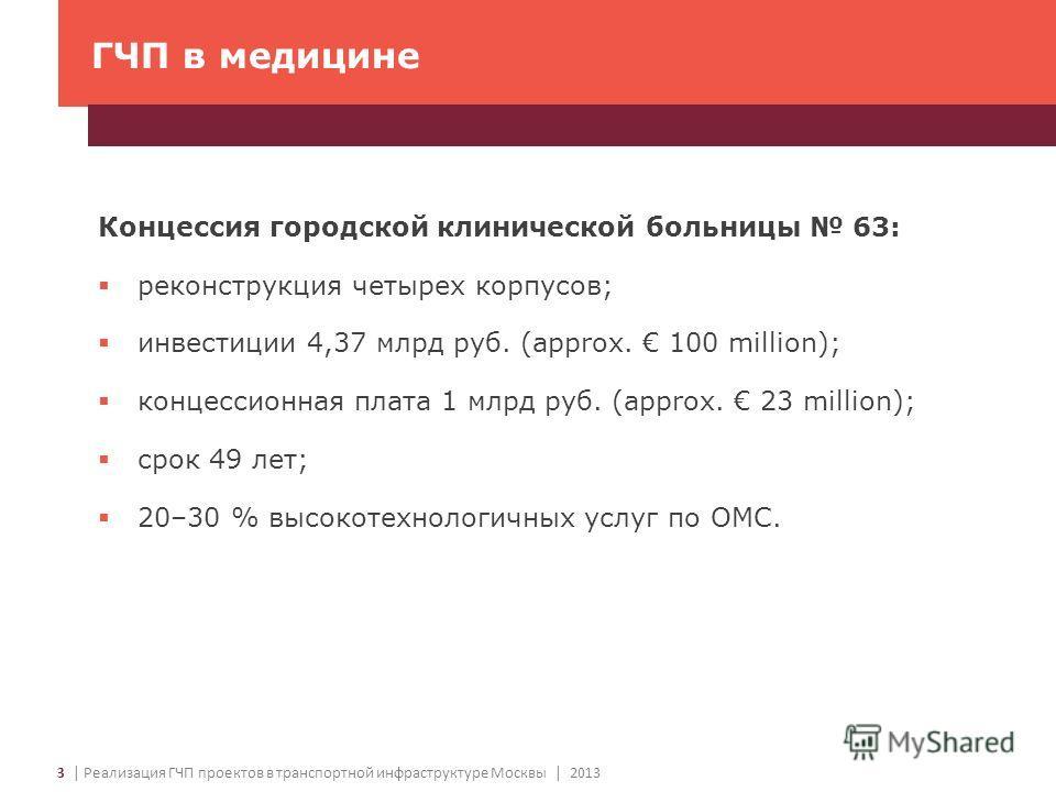 3 | Реализация ГЧП проектов в транспортной инфраструктуре Москвы | 2013 ГЧП в медицине Концессия городской клинической больницы 63: реконструкция четырех корпусов; инвестиции 4,37 млрд руб. (approx. 100 million); концессионная плата 1 млрд руб. (appr