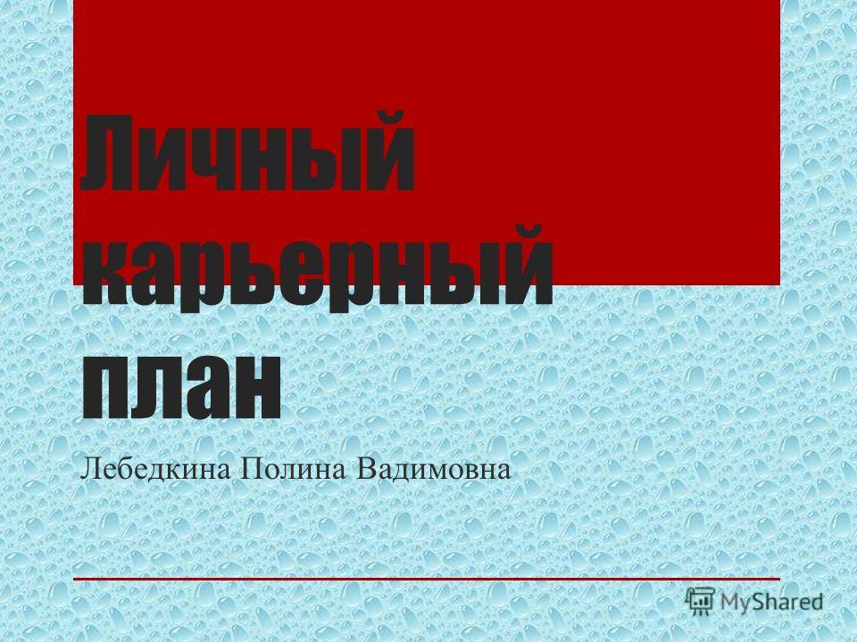 Личный карьерный план Лебедкина Полина Вадимовна