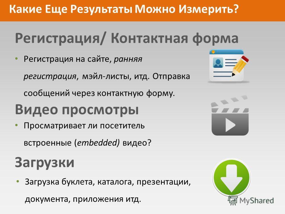 Какие Еще Результаты Можно Измерить? Регистрация/ Контактная форма Видео просмотры Загрузки Регистрация на сайте, ранняя регистрация, мэйл-листы, итд. Отправка сообщений через контактную форму. Просматривает ли посетитель встроенные (embedded) видео?