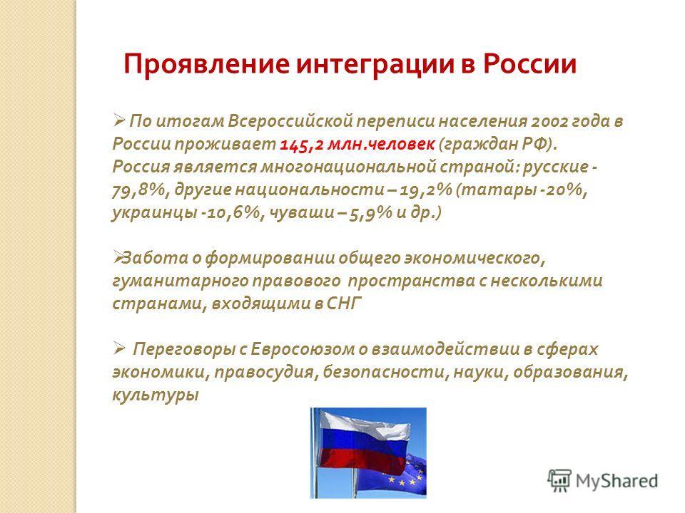 Проявление интеграции в России По итогам Всероссийской переписи населения 2002 года в России проживает 145,2 млн. человек ( граждан РФ ). Россия является многонациональной страной : русские - 79,8%, другие национальности – 19,2% ( татары -20%, украин