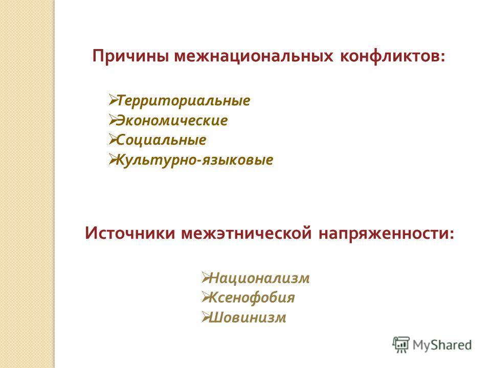 Причины межнациональных конфликтов : Территориальные Экономические Социальные Культурно - языковые Источники межэтнической напряженности : Национализм Ксенофобия Шовинизм