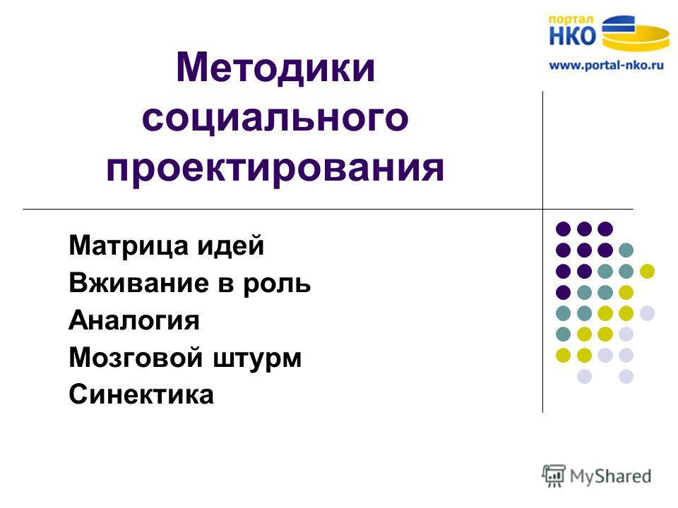 Методики социального проектирования Матрица идей Вживание в роль Аналогия Мозговой штурм Синектика