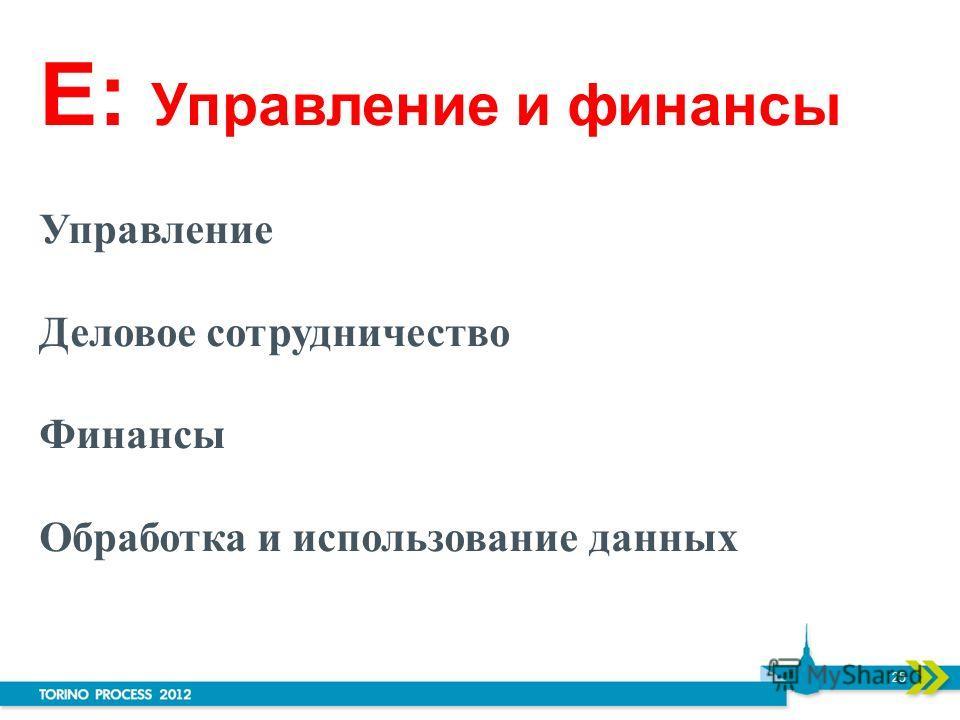 E: Управление и финансы Управление Деловое сотрудничество Финансы Обработка и использование данных 25