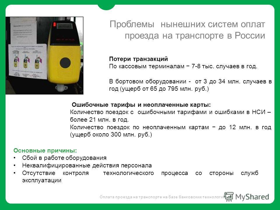 Проблемы нынешних систем оплат проезда на транспорте в России Оплата проезда на транспорте на базе банковских технологий Потери транзакций По кассовым терминалам 7-8 тыс. случаев в год. В бортовом оборудовании - от 3 до 34 млн. случаев в год (ущерб о