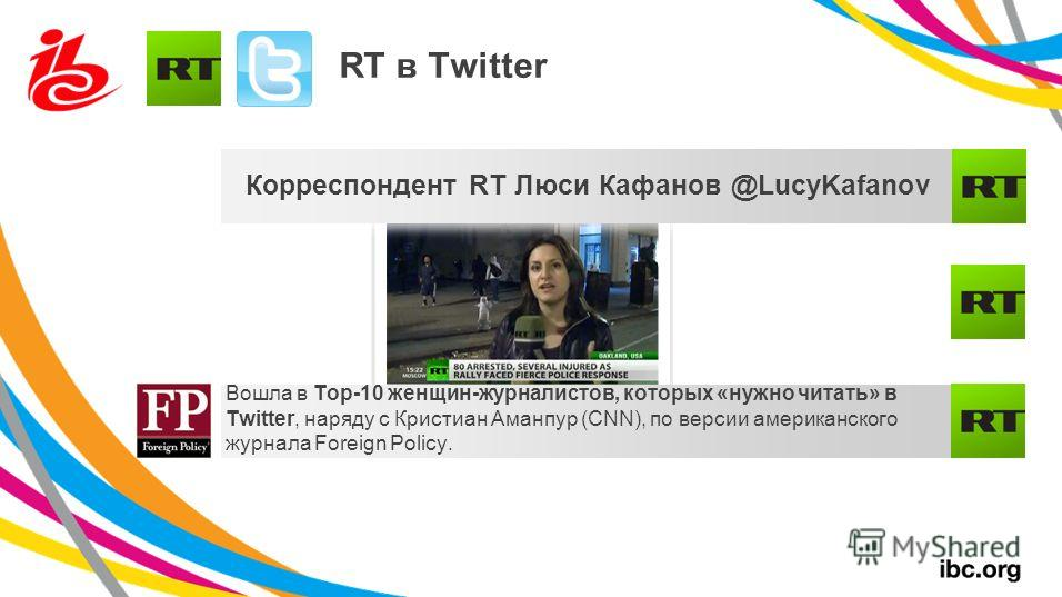 RT в Twitter Корреспондент RT Люси Кафанов @LucyKafanov Вошла в Top-10 женщин-журналистов, которых «нужно читать» в Twitter, наряду с Кристиан Аманпур (CNN), по версии американского журнала Foreign Policy.