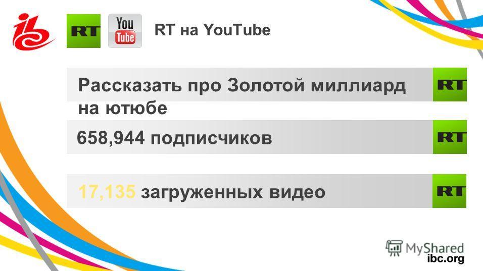 RT на YouTube Рассказать про Золотой миллиард на ютюбе 658,944 подписчиков 17,135 загруженных видео
