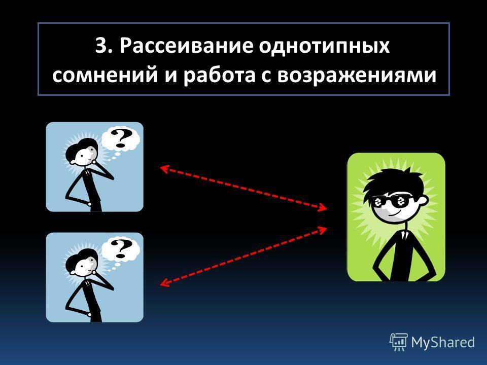 3. Рассеивание однотипных сомнений и работа с возражениями