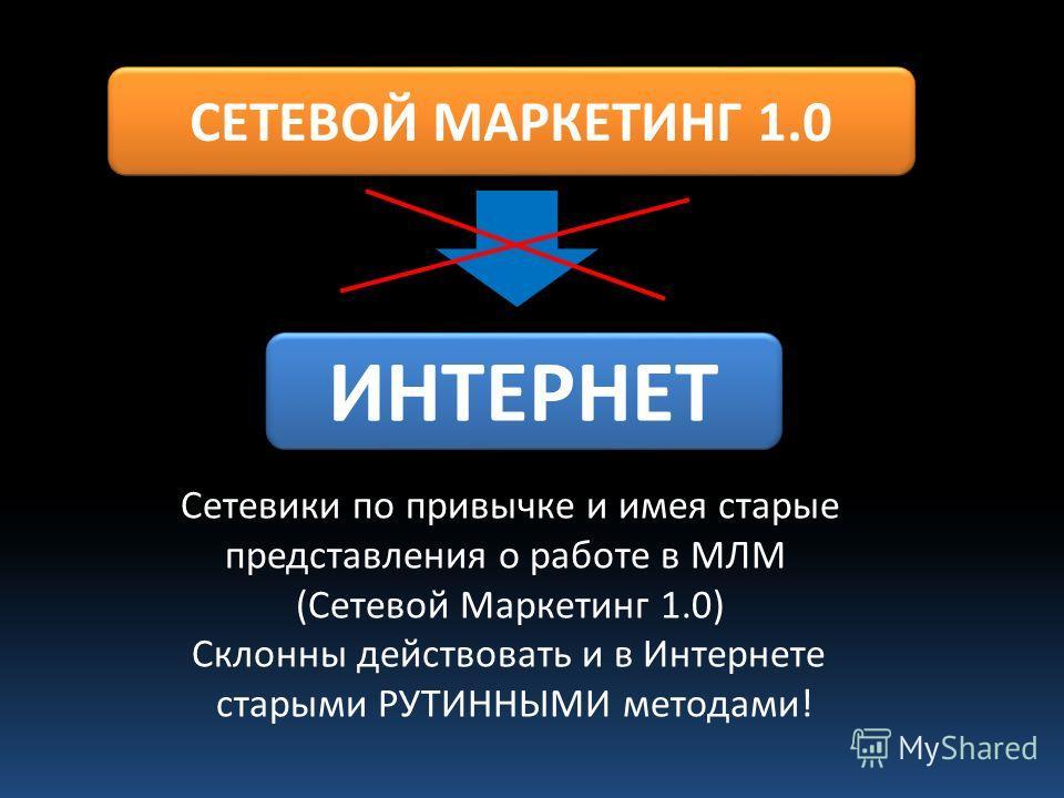 СЕТЕВОЙ МАРКЕТИНГ 1.0 ИНТЕРНЕТ Сетевики по привычке и имея старые представления о работе в МЛМ (Сетевой Маркетинг 1.0) Склонны действовать и в Интернете старыми РУТИННЫМИ методами!