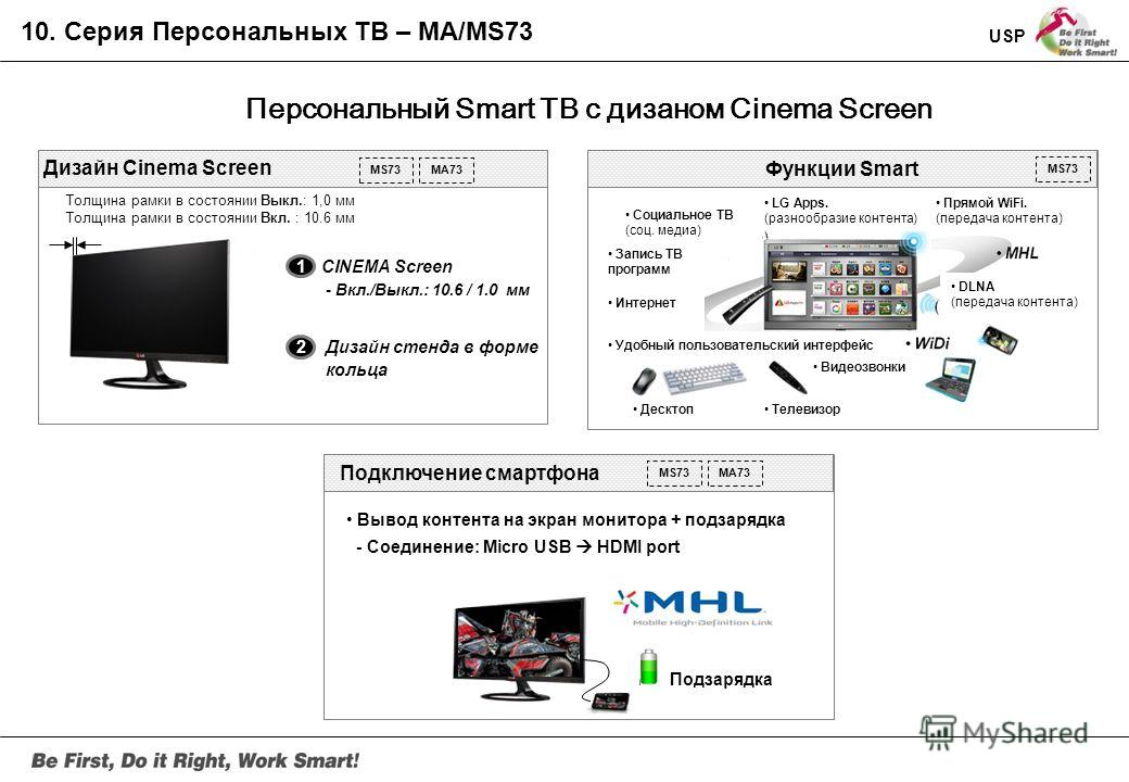 Серия MS73 Спецификации Панель: 27 LED IPS CINEMA SCREEN Углы обзора: 178/178 Время отклика: GTG 5 мс Интерфейс: HDMIx2 (MHL),USBx3, Компонент, Композит, LAN Port Динамики: 5W x 2 USP 1. Широкий набор Smart функций - Использование премиального контен
