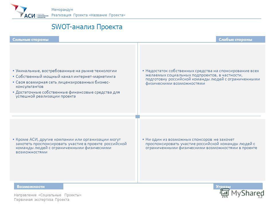 12 Направление «Социальные Проекты» Первичная экспертиза Проекта SWOT-анализ Проекта Сильные стороныСлабые стороны ВозможностиУгрозы Уникальные, востребованные на рынке технологии Собственный мощный канал интернет-маркетинга Своя всемирная сеть лицен