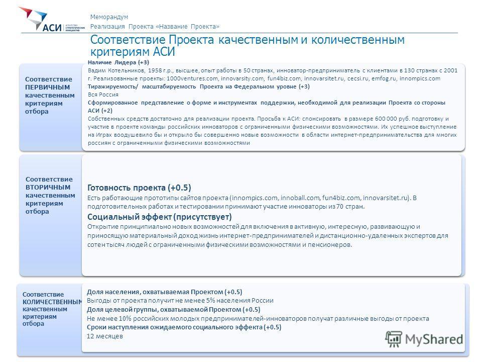 7 Направление «Новый Бизнес» Первичная экспертиза Проекта Соответствие Проекта качественным и количественным критериям АСИ Соответствие ПЕРВИЧНЫМ качественным критериям отбора Соответствие ПЕРВИЧНЫМ качественным критериям отбора Наличие Лидера (+3) В