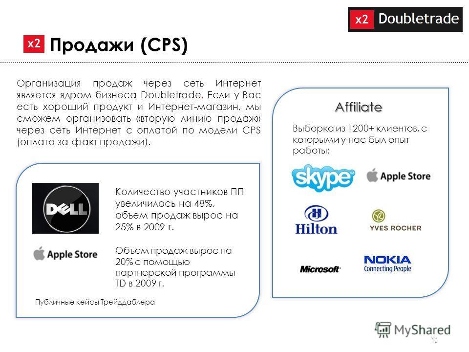 10 Организация продаж через сеть Интернет является ядром бизнеса Doubletrade. Если у Вас есть хороший продукт и Интернет-магазин, мы сможем организовать «вторую линию продаж» через сеть Интернет с оплатой по модели CPS (оплата за факт продажи). Прода