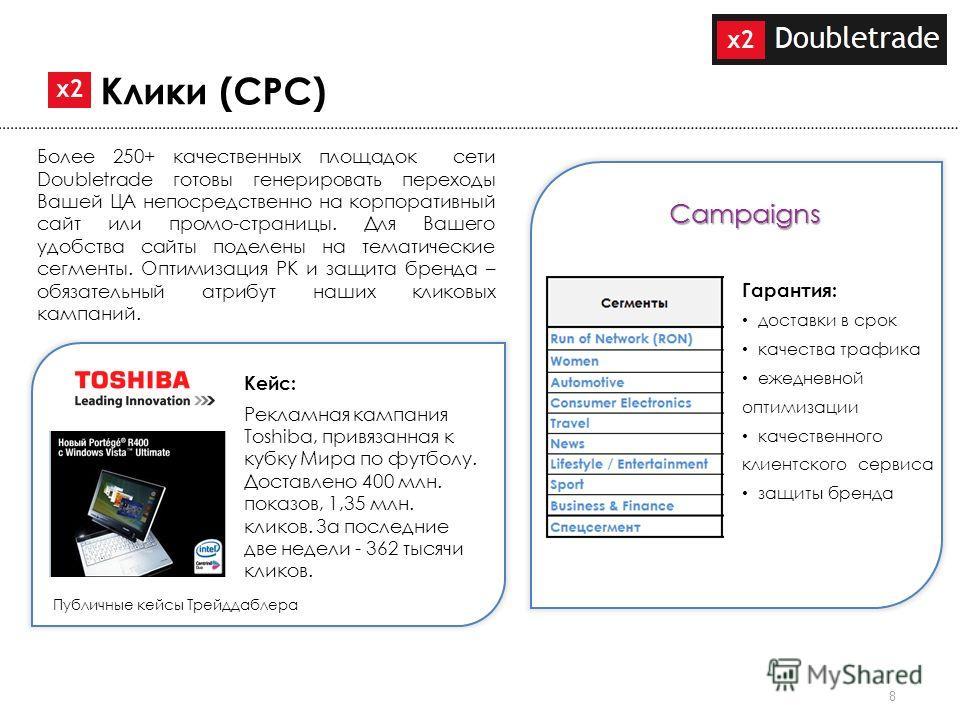 8 Более 250+ качественных площадок сети Doubletrade готовы генерировать переходы Вашей ЦА непосредственно на корпоративный сайт или промо-страницы. Для Вашего удобства сайты поделены на тематические сегменты. Оптимизация РК и защита бренда – обязател