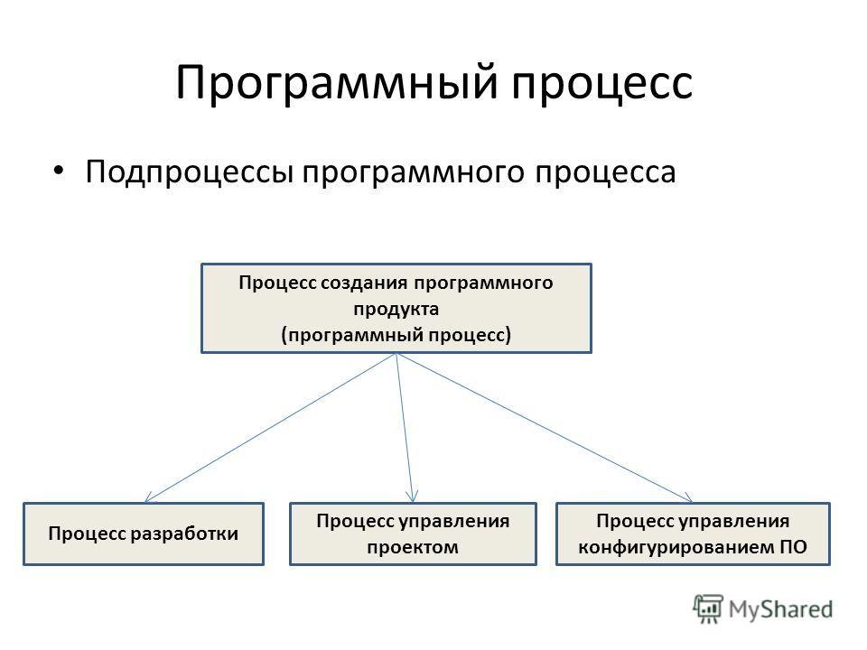 Программный процесс Подпроцессы программного процесса Процесс создания программного продукта (программный процесс) Процесс разработки Процесс управления проектом Процесс управления конфигурированием ПО
