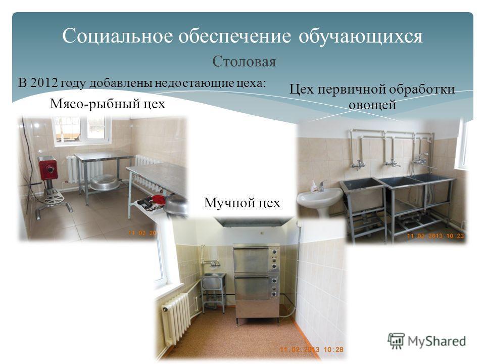 Столовая Социальное обеспечение обучающихся В 2012 году добавлены недостающие цеха: Мясо-рыбный цех Цех первичной обработки овощей Мучной цех