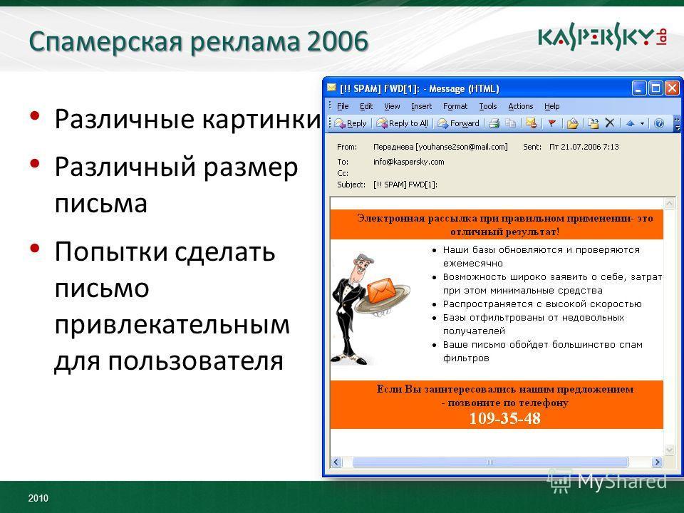 2010 Спамерская реклама 2006 Различные картинки Различный размер письма Попытки сделать письмо привлекательным для пользователя