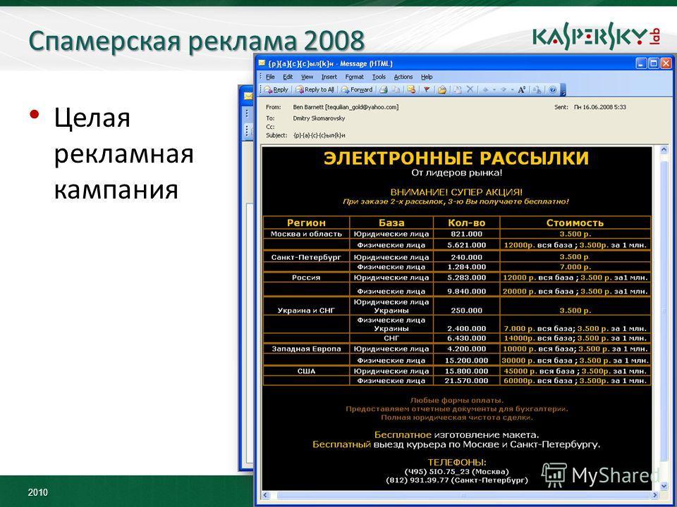 2010 Спамерская реклама 2008 Целая рекламная кампания