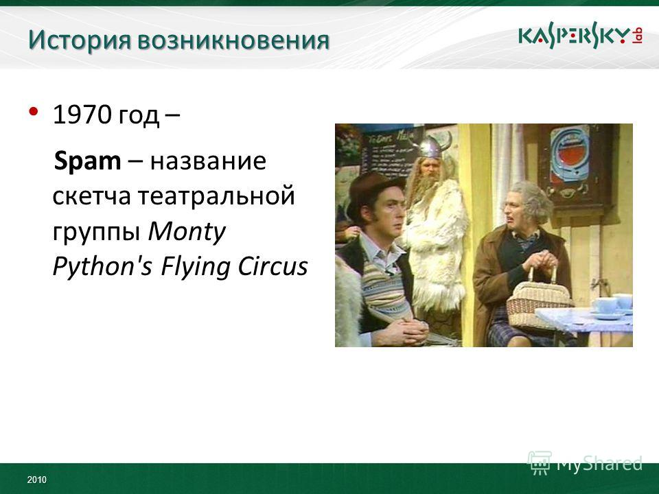 2010 История возникновения 1970 год – Spam – название скетча театральной группы Monty Python's Flying Circus