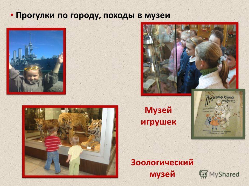 Прогулки по городу, походы в музеи Музей игрушек Зоологический музей