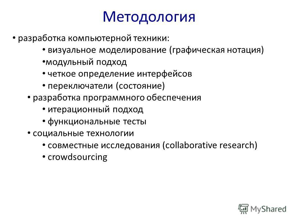 Методология разработка компьютерной техники: визуальное моделирование (графическая нотация) модульный подход четкое определение интерфейсов переключатели (состояние) разработка программного обеспечения итерационный подход функциональные тесты социаль