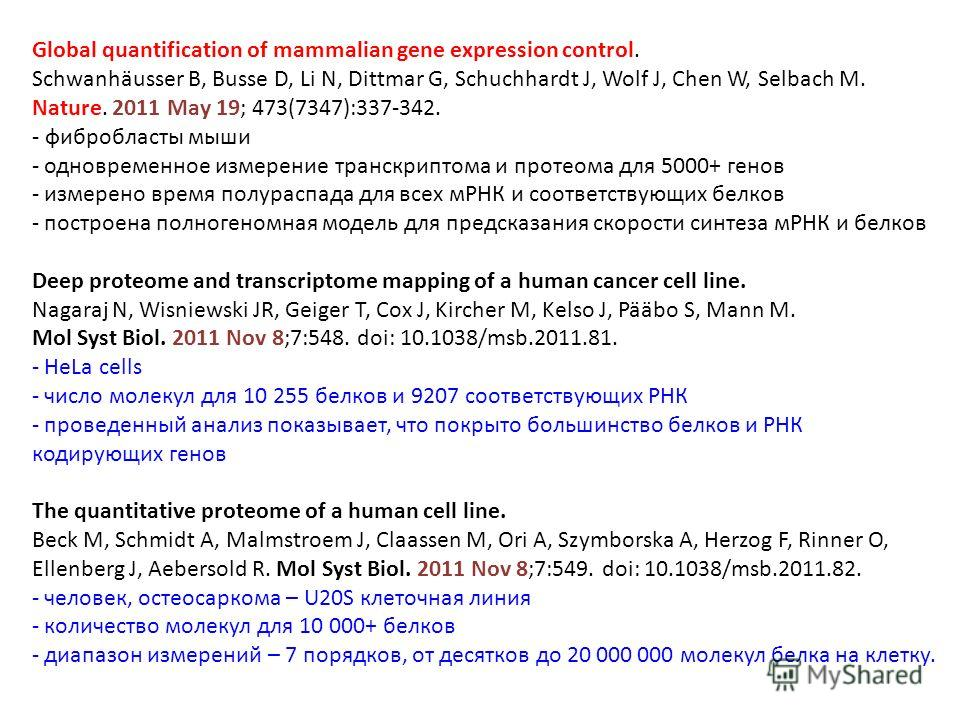Global quantification of mammalian gene expression control. Schwanhäusser B, Busse D, Li N, Dittmar G, Schuchhardt J, Wolf J, Chen W, Selbach M. Nature. 2011 May 19; 473(7347):337-342. - фибробласты мыши - одновременное измерение транскриптома и прот