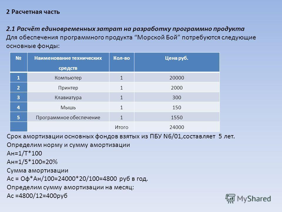 2 Расчетная часть 2.1 Расчёт единовременных затрат на разработку программно продукта Для обеспечения программного продукта Морской Бой потребуются следующие основные фонды: Наименование технических средств Кол-воЦена руб. 1Компьютер120000 2Принтер120