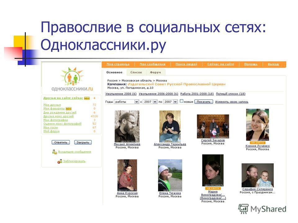 Правослвие в социальных сетях: Одноклассники.ру