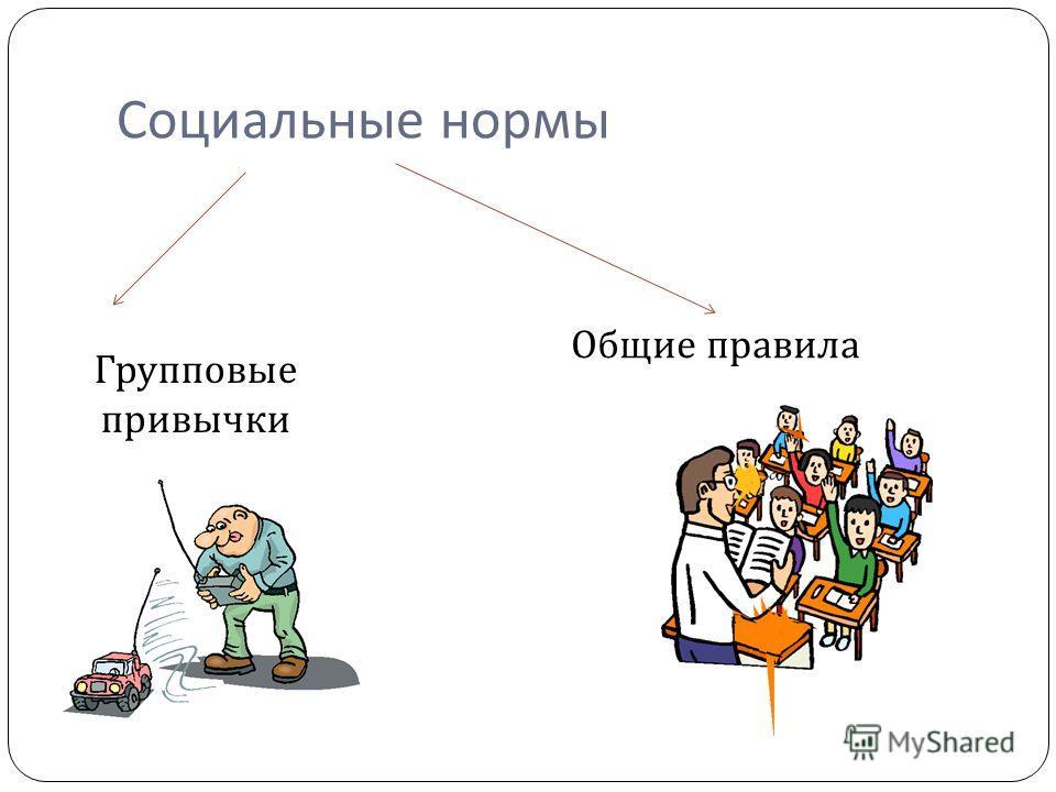 Социальные нормы Групповые привычки Общие правила