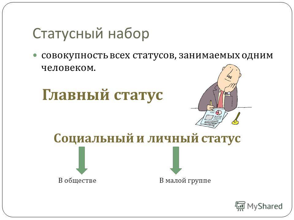 Статусный набор совокупность всех статусов, занимаемых одним человеком. Главный статус Социальный и личный статус В обществеВ малой группе