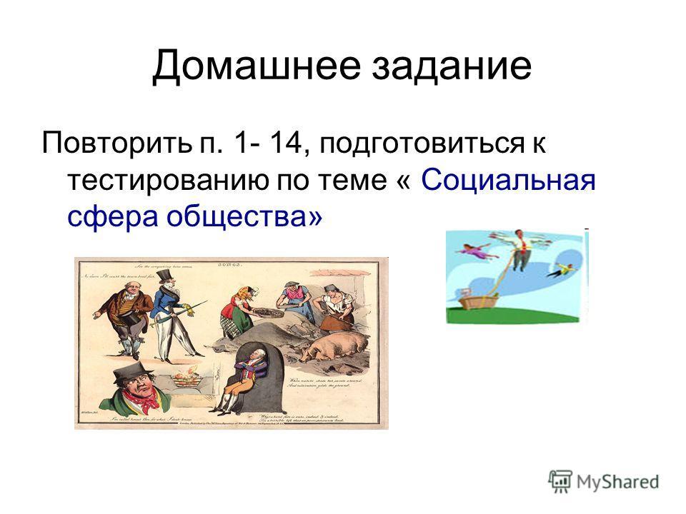 Домашнее задание Повторить п. 1- 14, подготовиться к тестированию по теме « Социальная сфера общества»